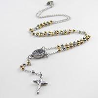Четки Ожерелье, нержавеющая сталь, Инсус крест, Другое покрытие, твист овал, 3mm, 11.5mm, 100mm, длина:Приблизительно 20 дюймовый, 10пряди/Лот, продается Лот