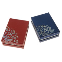 Cardboard Jewelry Set Box, pendant & finger ring, with Velveteen, Rectangle, with flower pattern & silver accent, more colors for choice, 68x91x32mm, 100PCs/Lot, Sold By Lot