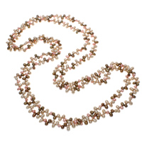 Natural Freshwater Pearl Long Necklace, Potato, multi-colored, 5-7mm, Sold Per Approx 77 Inch Strand