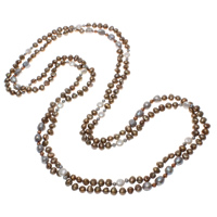 Natural Freshwater Pearl Long Necklace, Baroque, multi-colored, 4-10mm, Sold Per Approx 78.5 Inch Strand