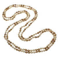 Natural Freshwater Pearl Long Necklace, Rice, two tone, 7-8mm, Sold Per Approx 78.5 Inch Strand