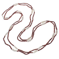 Natural Freshwater Pearl Long Necklace, two tone, 4-19mm, Sold Per Approx 78.5 Inch Strand