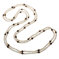Natural Freshwater Pearl Long Necklace, Potato, multi-colored, 5-7mm, Sold Per Approx 78.5 Inch Strand
