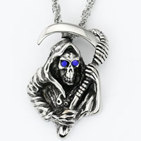 Titanium Steel Pendants, Skull, with cubic zirconia & blacken, 38x26x14mm, Hole:Approx 3-5mm, 5PCs/Bag, Sold By Bag