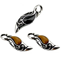 Titanium Steel Pendants, with Agate, blacken, mixed colors, 18x50mm, Hole:Approx 3-5mm, 5PCs/Bag, Sold By Bag