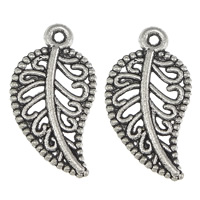 Hollow Brass Pendants, Zinc Alloy, Leaf, antique silver color plated, nickel, lead & cadmium free, 10x19x1.50mm, Hole:Approx 1mm, 200PCs/Lot, Sold By Lot