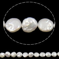 Coin Cultured Freshwater Pearl Beads, white, Grade AA, 10-11mm, Hole:Approx 0.8mm, Sold Per 15 Inch Strand