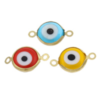 Evil Eye Connector, Acrylic, with Brass, different size for choice & 1/1 loop, mixed colors, Hole:Approx 2mm, 10PCs/Bag, Sold By Bag