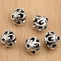 Thailand Sterling Silver Beads, Rivoli Xilion, hollow, 8x7.7mm, Hole:Approx 1.5mm, 10PCs/Bag, Sold By Bag