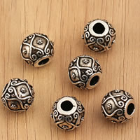 Thailand Sterling Silver Beads, Drum, 10.5x9.3mm, Hole:Approx 3.5mm, 3PCs/Bag, Sold By Bag