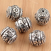 Thailand Sterling Silver Beads, Drum, 10x11.5mm, Hole:Approx 1mm, 3PCs/Bag, Sold By Bag