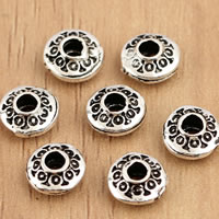 Thailand Sterling Silver Beads, Flat Round, 6x3.2mm, Hole:Approx 1.5mm, 20PCs/Bag, Sold By Bag