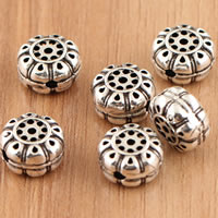Thailand Sterling Silver Beads, Flat Round, hollow, 9x5.9mm, Hole:Approx 1mm, 5PCs/Bag, Sold By Bag