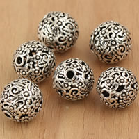 Thailand Sterling Silver Beads, Round, hollow, 10mm, Hole:Approx 2mm, 5PCs/Bag, Sold By Bag