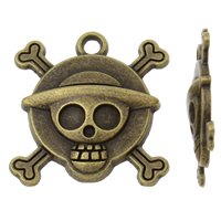 Zinc Alloy Skull Pendants, antique bronze color plated, nickel, lead & cadmium free, 26x27x4mm, Hole:Approx 2.5mm, 10PCs/Bag, Sold By Bag
