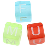 Transparent Acrylic Beads, Cube, mixed, 6x6mm, Hole:Approx 3mm, Approx 3300PCs/Bag, Sold By Bag