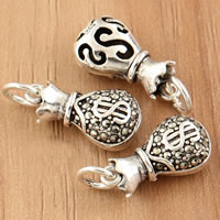 Thailand Sterling Silver Pendants, Money Bag, with rhinestone, 8x20x6.40mm, Hole:Approx 3.5mm, 3PCs/Bag, Sold By Bag
