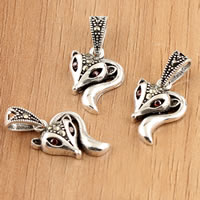 Thailand Sterling Silver Pendants, Fox, with rhinestone, 12x23x4mm, Hole:Approx 3.5mm, 5PCs/Bag, Sold By Bag