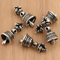 Thailand Sterling Silver Pendants, Bell, Buddhist jewelry, 10x19.3mm, Hole:Approx 1.5mm, 3PCs/Bag, Sold By Bag