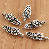 Thailand Sterling Silver Pendants, Flower, 6x17.50x3.60mm, Hole:Approx 2mm, 10PCs/Bag, Sold By Bag