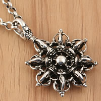 Thailand Sterling Silver Pendants, Flower, hollow, 31.40x43x7.50mm, Hole:Approx 5.5mm, Sold By PC