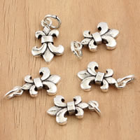 Thailand Sterling Silver Pendants, Fleur-de-lis, 9x18.50x2.40mm, Hole:Approx 3.5mm, 10PCs/Bag, Sold By Bag