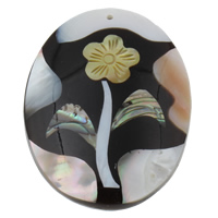 Shell Pendants, Freshwater Shell, with Yellow Shell & Abalone Shell & Resin, Flat Oval, 40x52x9mm, Hole:Approx 1mm, Sold By PC