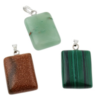 Gemstone Pendant, with iron bail, mixed, 15x28x7mm, Hole:Approx 1x5mm, 12PCs/Box, Sold By Box