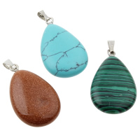Gemstone Pendant, with iron bail, mixed, 26x33x6mm, Hole:Approx 1x5mm, 12PCs/Box, 2/Lot, Sold By Box