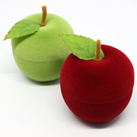 Velveteen Single Ring Box with Spun Silk   Cardboard Apple mixed colors 47x46x52mm 20PCs/Bag