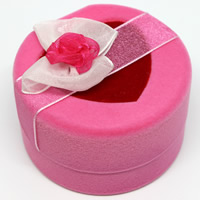 Velveteen Single Ring Box with Cardboard   Organza Column pink 60x58x37mm 20PCs/Bag