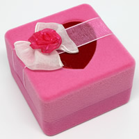 Velveteen Single Ring Box with Cardboard   Organza Square pink 58x58x37mm 20PCs/Bag