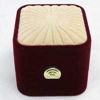 Velveteen Single Ring Box with Cardboard   Zinc Alloy Rectangle two tone 48x55x43mm 20PCs/Bag