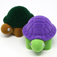 Velveteen Single Ring Box with Cardboard   Acrylic Turtle mixed colors 65x50x45mm 20PCs/Bag