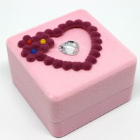 Velveteen Single Ring Box with Cardboard   Acrylic Square faceted pink 58x58x37mm 20PCs/Bag
