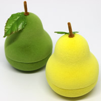 Velveteen Single Ring Box with Spun Silk   Cardboard Pear mixed colors 43x43x57mm 20PCs/Bag