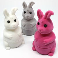 Velveteen Single Ring Box with Cardboard   Acrylic Rabbit mixed colors 42x45x75mm 20PCs/Bag