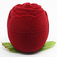 Velveteen Single Ring Box with Spun Silk   Cardboard Rose red 41x41x40mm 20PCs/Bag