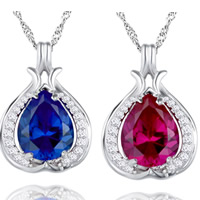 Cubic Zirconia Pendant, 925 Sterling Silver, Teardrop, platinum plated, with cubic zirconia & faceted, mixed colors, 18x13mm, Hole:Approx 3-6mm, 3PCs/Bag, Sold By Bag