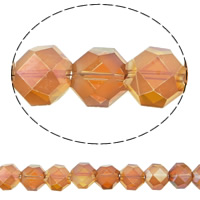 Imitation CRYSTALLIZED™ Element Crystal Beads, Hexagon, colorful plated, different size for choice & faceted & imitation CRYSTALLIZED™ element crystal, Topaz, Hole:Approx 1mm, Sold Per Approx 15.5 Inch Strand
