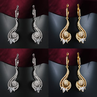 Cubic Zirconia Micro Pave Brass Earring, Flower, plated, micro pave cubic zirconia, more colors for choice, nickel, lead & cadmium free, 47x16mm, 3Pairs/Lot, Sold By Lot