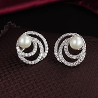 Cubic Zirconia Micro Pave Brass Earring, with Glass Pearl, Flat Round, platinum plated, micro pave cubic zirconia, nickel, lead & cadmium free, 21x20mm, 5Pairs/Lot, Sold By Lot