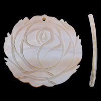Freshwater Shell Pendant, Flower, natural, 45x43x4mm, Hole:Approx 1.5mm, 10PCs/Bag, Sold By Bag