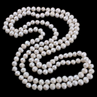 Natural Freshwater Pearl Necklace 2-strand white 8-10mm Sold Per Approx 51 Inch Strand