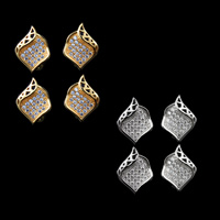 Cubic Zirconia Micro Pave Brass Earring, plated, micro pave cubic zirconia, more colors for choice, nickel, lead & cadmium free, 16x12mm, 10Pairs/Lot, Sold By Lot
