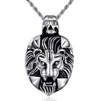Titanium Steel Pendants, Lion, blacken, original color, 28.2x46mm, Hole:Approx 2-5mm, 3PCs/Bag, Sold By Bag