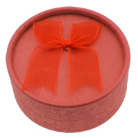 Cardboard Jewelry Set Box, finger ring & earring, with Organza, Flat Round, red, 84x37mm, Sold By PC