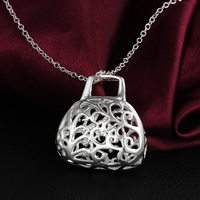 Hollow Brass Pendants, Handbag, real silver plated, nickel, lead & cadmium free, 32x26mm, Hole:Approx 5mm, 35PCs/Lot, Sold By Lot