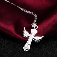 Krzyż wisiorki mosiądz, Skrzydła Anioła krzyż, Platerowane prawdziwym srebrem, z sześcienną cyrkonią, bez zawartości niklu, ołowiu i kadmu, 27x20mm, otwór:około 3mm, 30komputery/wiele, sprzedane przez wiele