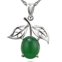 Natural Jade Pendants 925 Sterling Silver with Green Calcedony Fruit platinum plated 21x20mm Hole:Approx 2-7mm 3PCs/Bag